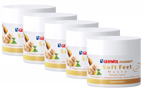 5er x GEHWOL FUSSKRAFT Soft Feet Maske mit Ingwer und Honig (Limited Edition)